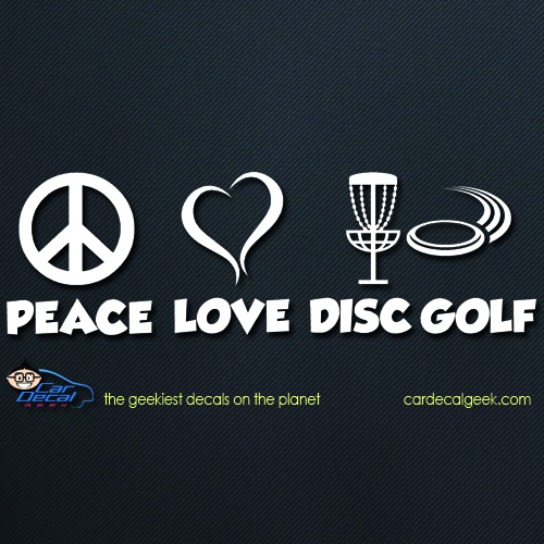 Peace Love Disc Golf Car Decal