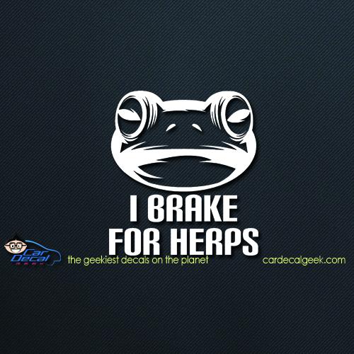 Frog I Brake for Herps Car Decal