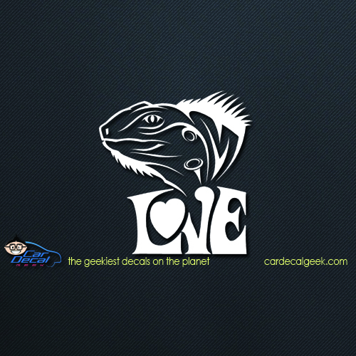 Iguana Love Car Decal