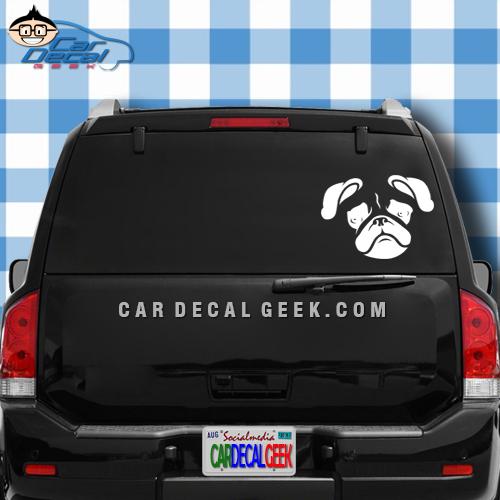 Pug Head Dog Car Window Decal Sticker