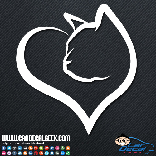 Heart Shaped Cat Car Decal