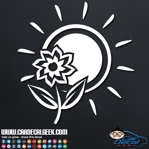 Tropical Sun and Flower Decal