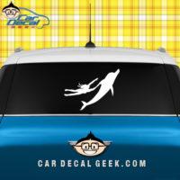 Woman Riding Dolphin Car Window Decal Sticker