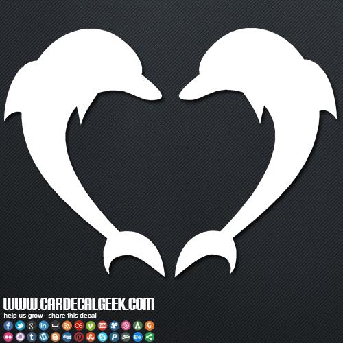 Dolphin Heart Car Decal Sticker