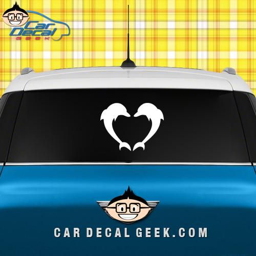 Dolphin Heart Car Window Decal Sticker