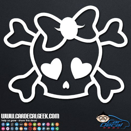 Window decal sticker cute girly skull sticker