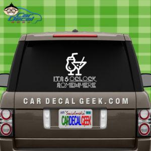 It's 5 Oclock Somewhere Neon Sign Car Window Decal Sticker