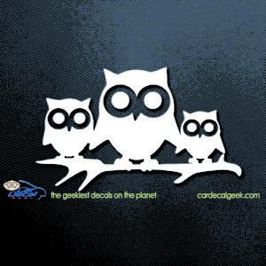 Cute Owl Family Car Decal