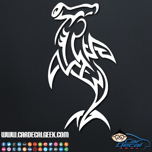 Tribal Hammerhead Shark Car Window Vinyl Decal Sticker