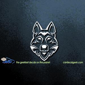 Tribal Huskey Dog Car Decal