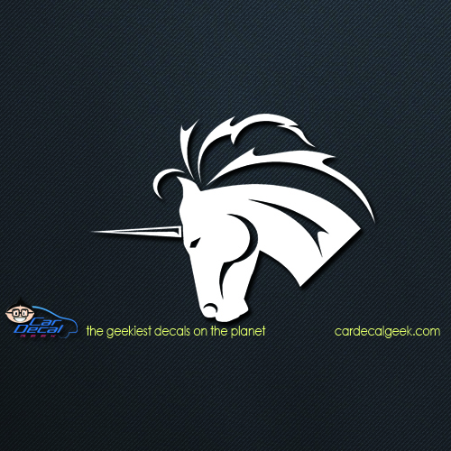 Unicorn head car decal