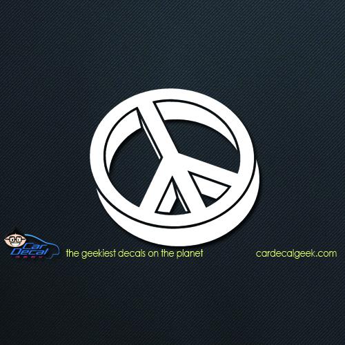 3d peace sign car decal
