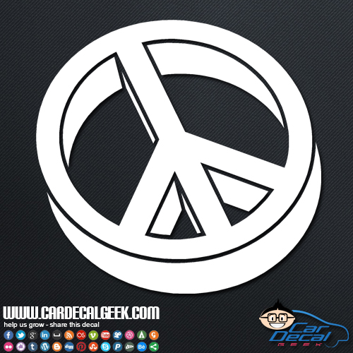 3D Peace Sign Car Sticker
