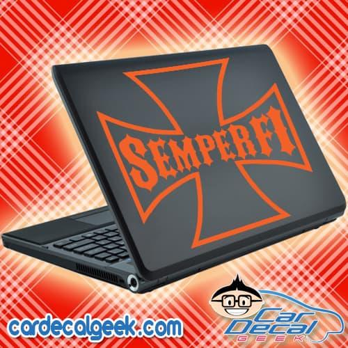 Marines Semper Fi Iron Cross Laptop Decal Sticker