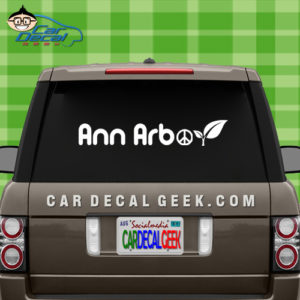 Ann Arbor Peace Leaf Vinyl Car Window Decal Sticker