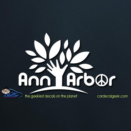 Ann Arbor Peace Tree Car Decal