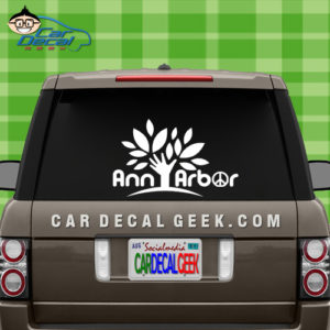Ann Arbor Peace Tree Vinyl Car Window Decal Sticker