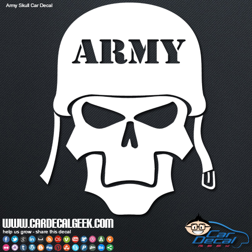 Army skull car sticker