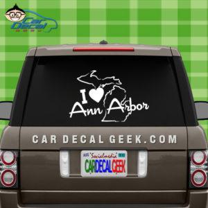 I Love Ann Arbor Vinyl Car Decal Sticker