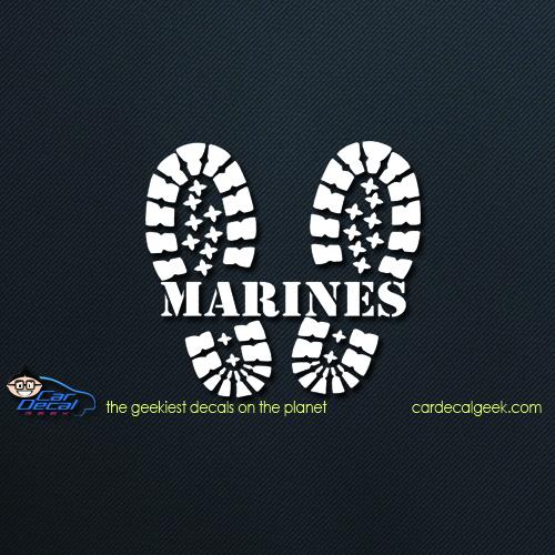 Marines Combat Boots Car Window Vinyl Decal Sticker