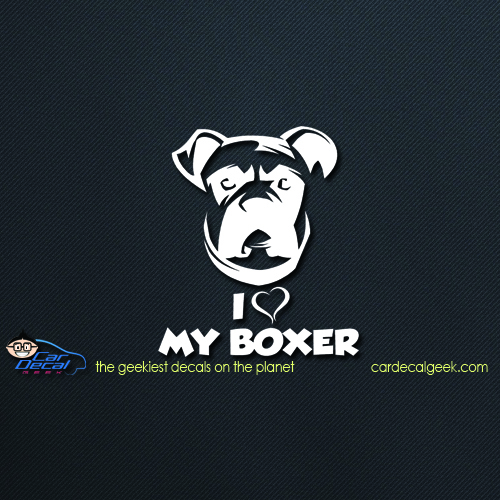 I Love My Boxer Decal
