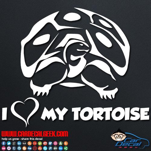 I Love My Tortoise Car Sticker