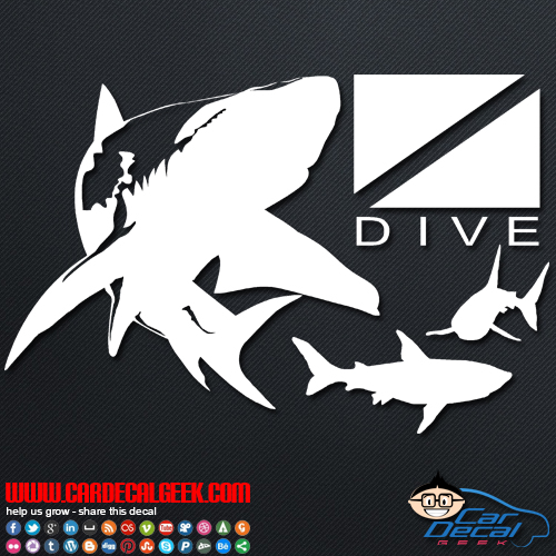 Sharks Swimming Around Scuba Dive Flag Car Sticker