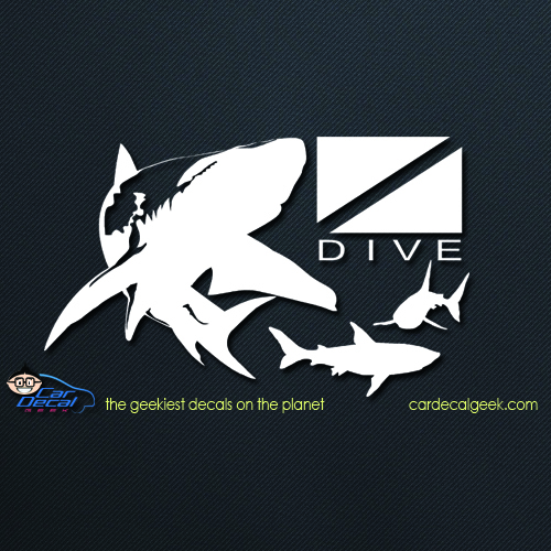 Sharks Swimming Around Scuba Dive Flag Car Decal