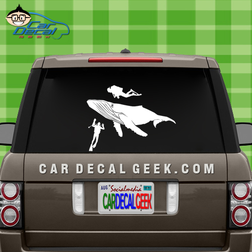 Whale and Scuba Divers Vinyl Car Window Decal Sticker