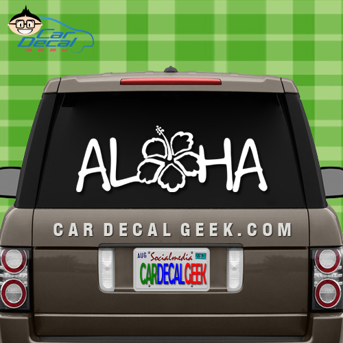 Aloha Hibiscus Flower Car Window Sticker
