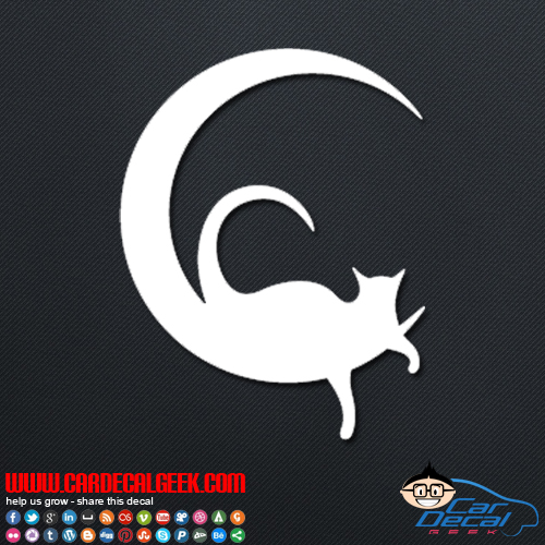 Cat on the Moon Decal