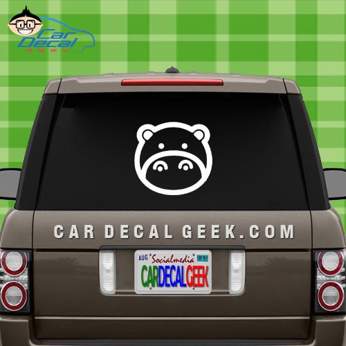 Cute Hippo Car Window Decal