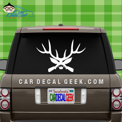 Deer Antler Guns Car Decal