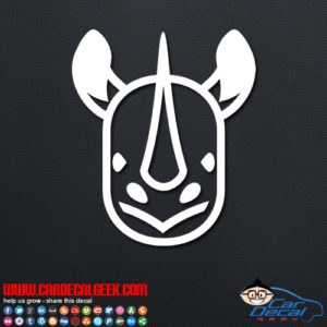 Cute Rhino Face Vinyl Car Decal Sticker Graphic Animal Decals