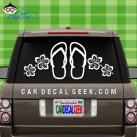 Tropical Flip Flops Hawaiian Flowers Car Sticker