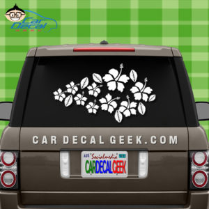 Tropical Hibiscus Flowers Car Sticker