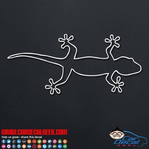 Gecko Lizard Ouline Car Sticker