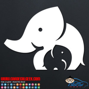 Mother and Baby Elephant Car Decal