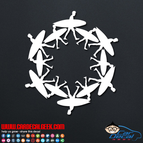 surfer circle decal