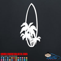 Surfboard with Palm Trees Decal