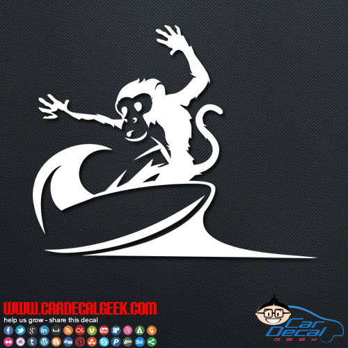 Surfing monkey decal surfing monkey car