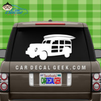 Surfing Woody Wagon Car Window Decal