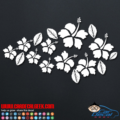 Tropical Hibiscus Flowers Car Decal