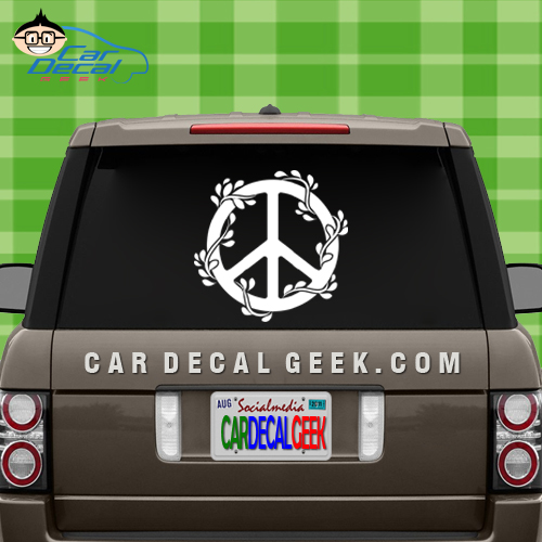 Peace Sign Flowers Car Window Decal Sticker