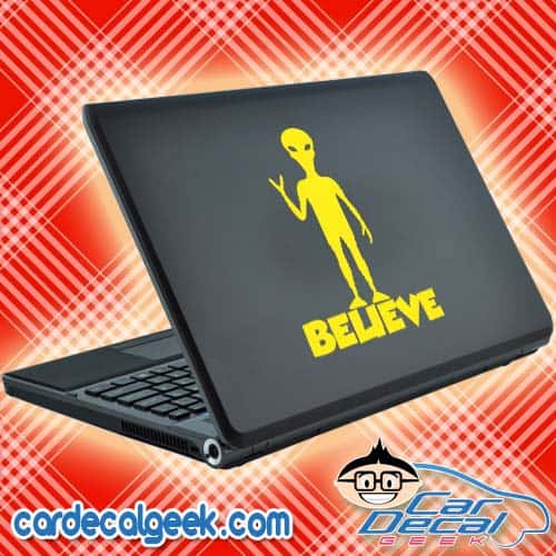 Believe Standing Alien Laptop Decal Sticker