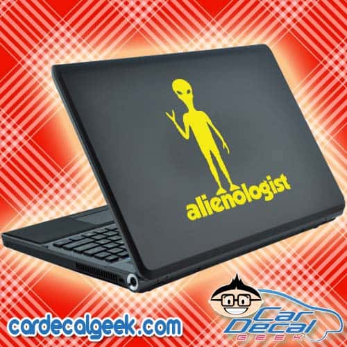 Alienologist Standing Alien Laptop Decal Sticker