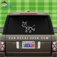 Cat Stick Figure Car Window Decal