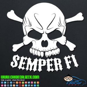 Marines Semper Fi Skull Decal Sticker
