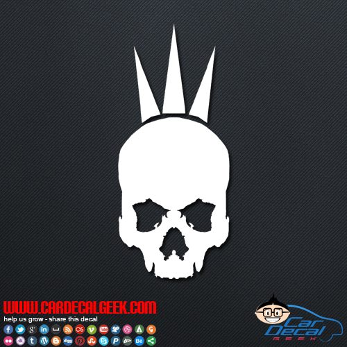 Punk Skull W Spikes Vinyl Window Decal Sticker Punk Decals