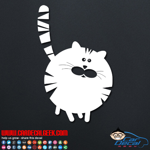 Cute Fat Cat Decal Sticker